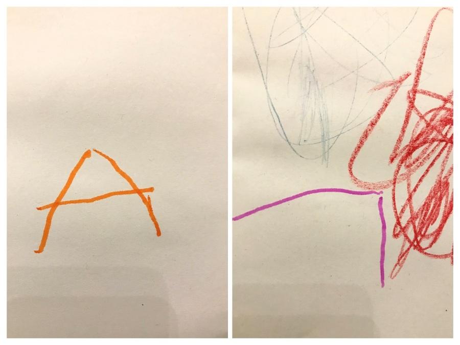scrittura a mano di un bambino piccolo